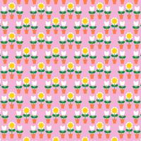Patrón de tulipanes y macetas en rosa