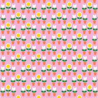 modello di tulipani e fioriere sul rosa