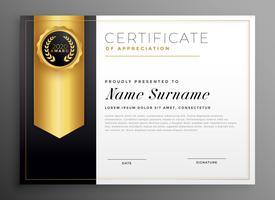 gyllene företag certifikat design mall