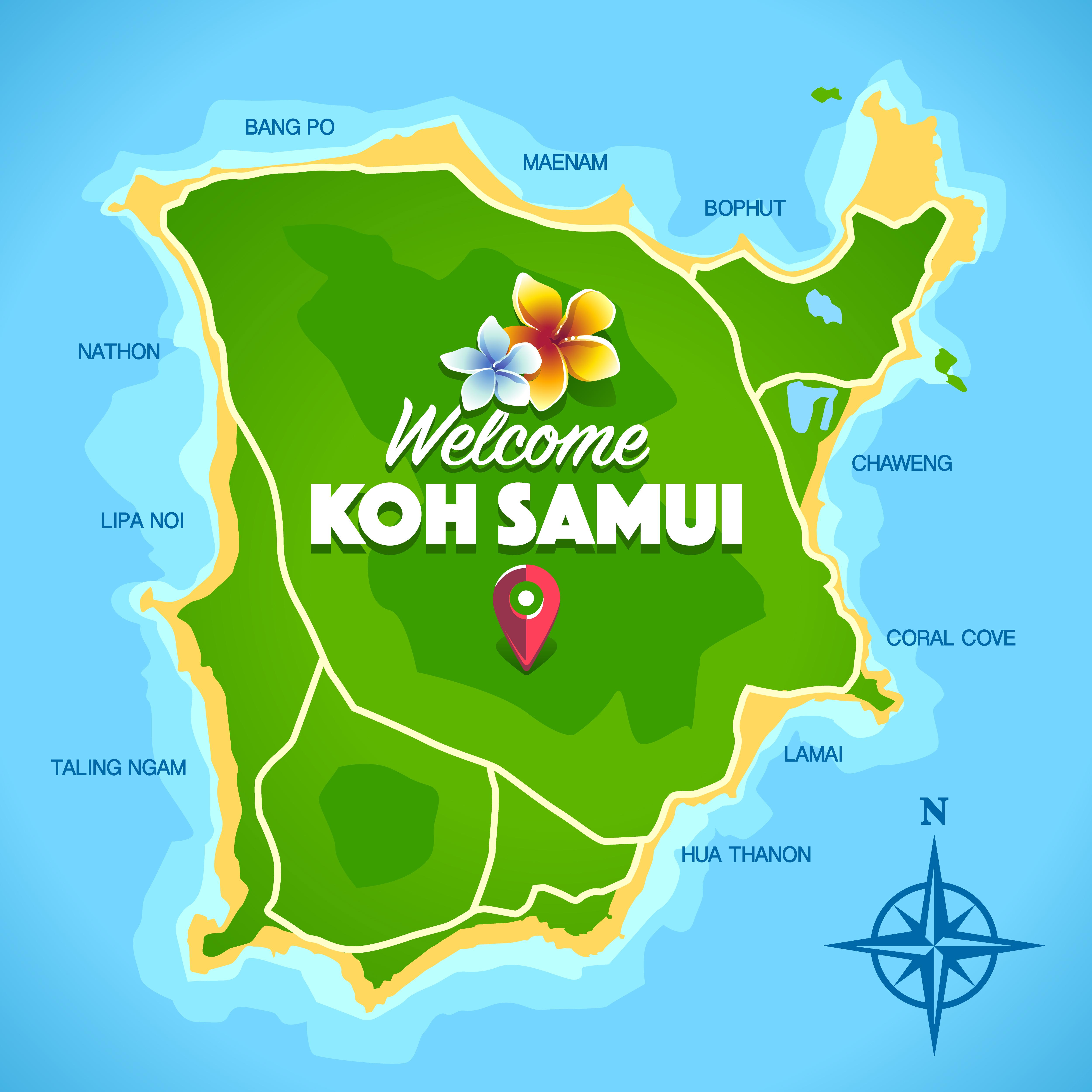 Koh Samui Map Vector Download Free Vectors Clipart Graphics