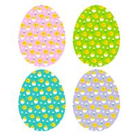 Easter eggs with hatching chick patterns