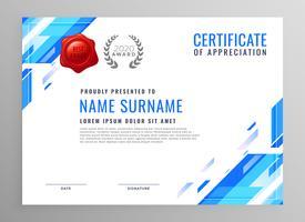 diseño de certificado de negocios moderno azul