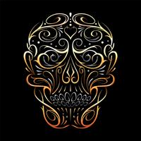 Abstract Skull Shape Gold Pattern  vector