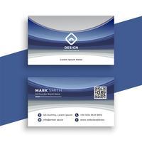 plantilla de tarjeta de visita ondulada azul elegante