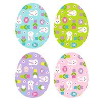 Easter eggs with bunny tulip pattern