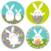 Easter bunny graphics with floral patterns on circle shapes