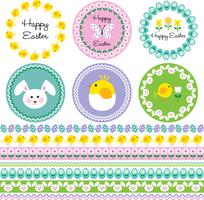 Easter frames and border patterns vector