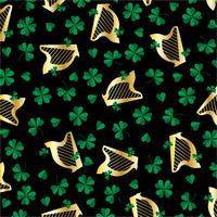 saint patricks day harp and clover pattern on black