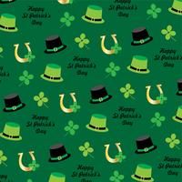 saint patrick's day hat and horseshoe pattern on green background