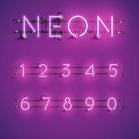 Set di caratteri al neon realistico giallo con fili e console, illustrazione vettoriale
