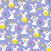 Easter bunny and chick pattern on purple background vector