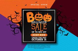 Boo, Halloween Sale banner illustration