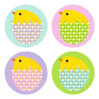 Easter chicks in patterned eggs
