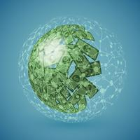 Groene bol die van geld, vectorillustratie wordt gemaakt