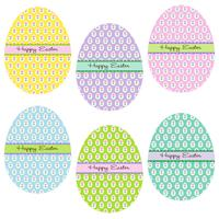 Happy Easter eggs with flower patterns