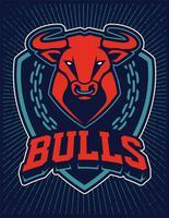 Plantilla de diseño de emblema de la mascota de Bull vector