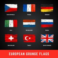 Grunge Flags Vector Set
