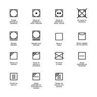 In de droogtrommel. Symbolen voor textielverzorging.