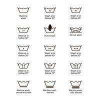 Set di simboli di lavanderia.
