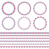 Red white and blue circle frames and borders