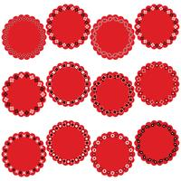 red black bandana circle frame labels vector