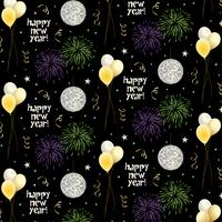 new years eve vector pattern with balloons and fireworks on black background