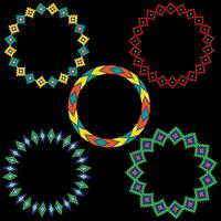 Native American Beaded Circle Frames vector