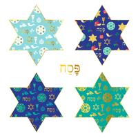 blue gold Passover patterns on Jewish stars