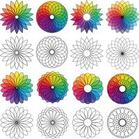 color wheel flowers graphic clipart vector