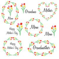 happy mothers day set with tulips vector