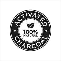 Activated Charcoal icon. 100% Natural. vector
