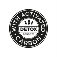 Whit Activated Carbon icon. Detox benefits. vector