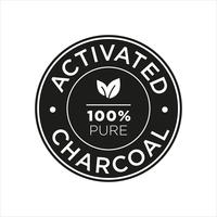 Activated Charcoal icon. 100% pure. vector