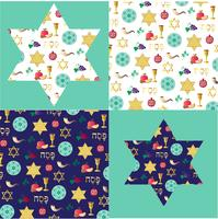 Passover background patterns and stars with gold vector