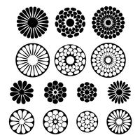 black vector flower shapes