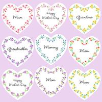 mothers day heart shaped frames vector
