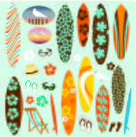 Clipart de tabla de surf vector