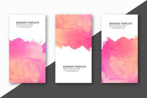 Elegant colorful watercolor banner set template