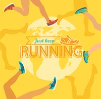 Summer running marathon. vector