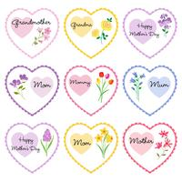 mother's day hearts with flowers vector