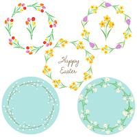 Printflower circle easter frames vector