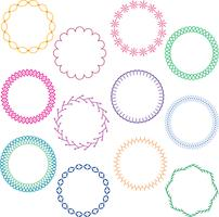 colorful stitched circle frames