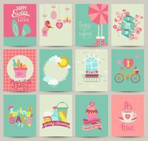 Collection of 12 Spring card templates vector