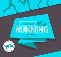 Maratona de corrida e emblema de corrida.