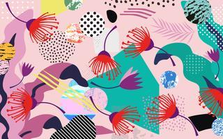 Tropischer Dschungel verlässt und blüht Hintergrund. Buntes tropisches Plakatdesign