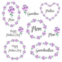 happy mothers day set with violets