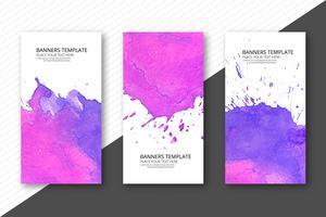 Conjunto de colores suaves acuarela plantilla banner