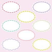 oval embroidered label frames vector