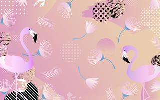 Tropical jungle leaves and flowers poster background with flamingos