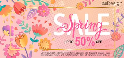 Folheto de venda de primavera, banner.